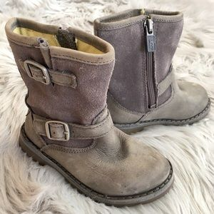 UGG Harwell Baby Grey Suede Leather Buckled Boots